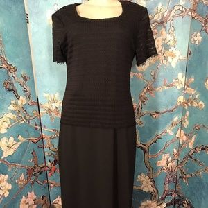 Dressbarn Black Textured Sheer Overlay Maxi Dress